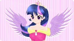 Size: 2250x1250 | Tagged: safe, artist:pacificaharrington, twilight sparkle, human, big crown thingy, clothes, coronation dress, crown, dress, elements of harmony, humanized, jewelry, regalia, solo, spread wings, twilight sparkle (alicorn), winged humanization, wings