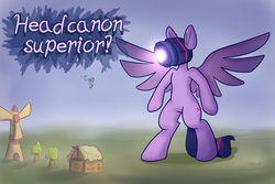 Size: 1280x853 | Tagged: alicorn, artist:heir-of-rick, bipedal, dialogue, giant pony, headcannon, headcanon, macro, pegasus, pony, pun, rainbow dash, safe, spread wings, twilight sparkle, twilight sparkle (alicorn), visual pun, wat, windmill, wings