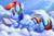 Size: 2000x1306 | Tagged: safe, artist:tsitra360, daring do, rainbow dash, pegasus, pony, alicorn amulet, book, cloud, crepuscular rays, crossed legs, cute, dashabetes, dock, egghead, female, fluffy, frog (hoof), implied twilight sparkle, mare, plot, prone, reading rainbow, signature, solo, underhoof
