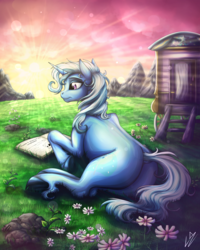 Size: 3200x4000 | Tagged: absurd res, artist:lupiarts, book, caravan, crepuscular rays, female, mare, morning ponies, plot, pony, prone, reading, safe, scenery, signature, solo, sunrise, the great and powerful ass, trixie, trixie's wagon, underhoof, unicorn, unshorn fetlocks, wagon