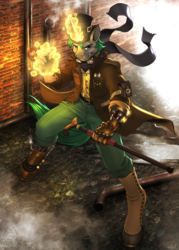Size: 2375x3325 | Tagged: anthro, anthro oc, artist:mykegreywolf, badass, cane, clothes, commission, fire, glowing horn, hat, magic, male, oc, oc only, oc:steam shadow, pants, safe, solo, stallion, steam, steampunk, unguligrade anthro