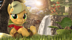 Size: 4000x2250 | Tagged: 3d, acoustic guitar, applejack, artist:redaceofspades, bandana, earth pony, female, freckles, grass, hoof hold, looking at you, mare, pony, safe, scenery, solo, tree, waterfall