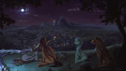 Size: 3565x1998   Tagged: safe, artist:fruitbloodmilkshake, stellar eclipse, oc, oc:iskarion, oc:night lark, oc:poison trail, bat pony, earth pony, pegasus, pony, timber wolf, canon x oc, canterlot, female, male, moon, night, outdoors, ponyville, river, scenery, scenery porn, shipping, stellarnight, straight, wheelchair