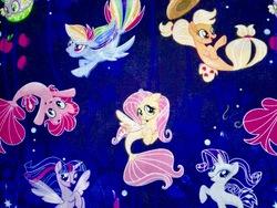 Size: 960x720   Tagged: safe, applejack, fluttershy, pinkie pie, rainbow dash, rarity, spike, twilight sparkle, alicorn, pony, puffer fish, seapony (g4), my little pony: the movie, cute, fabric, irl, mane seven, mane six, merchandise, photo, seaponified, seapony applejack, seapony fluttershy, seapony pinkie pie, seapony rainbow dash, seapony rarity, seapony twilight, species swap, spike the pufferfish, that pony sure does love being a seapony, twilight sparkle (alicorn)