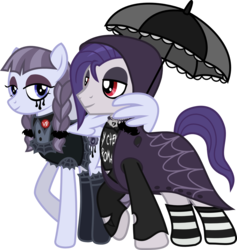Size: 1197x1263   Tagged: safe, artist:lightningbolt, derpibooru exclusive, funnel web, inky rose, pegasus, pony, honest apple, .svg available, braid, button, cape, clandestine industries, clothes, emo, eyeliner, eyeshadow, female, goth, hood, hooded cape, hug, inkyweb, jewelry, lanky, looking at each other, makeup, male, mare, model, my chemical romance, necklace, raised hoof, ripped, ripped shirt, running makeup, shipping, shirt, simple background, sleeping with sirens, socks, spider web, stallion, standing, straight, striped socks, svg, tall, transparent background, umbrella, vector, wing hold, winghug