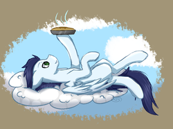 Size: 2010x1496 | Tagged: artist:fluxittu, cloud, food, missing cutie mark, on back, pegasus, pie, pony, safe, soarin', solo, that pony sure does love pies