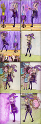 Size: 998x2970 | Tagged: safe, artist:meiyeezhu, spoiled rich, trixie, human, all bottled up, angry, anime, audience, bravo, bump, cape, clapping, clothes, comic, dress, flower, flower pot, funny, hat, high heels, horned humanization, humanized, inanimate tf, magic, magician, narcissus, old master q, parody, pot, shoes, spell, steamy, table, teapot, theater, traditional art, transfiguration, transformation, unamused, upset, vase, wizard hat