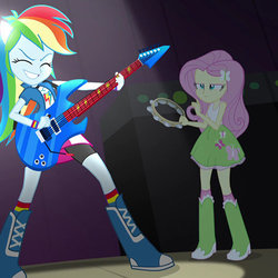 Size: 500x500 | Tagged: safe, screencap, fluttershy, rainbow dash, equestria girls, rainbow rocks, awesome as i want to be, boots, bracelet, clothes, compression shorts, cropped, electric guitar, eyes closed, female, fluttershy is not amused, frown, guitar, high heel boots, jewelry, musical instrument, ponied up, skirt, socks, striped socks, tambourine, wristband