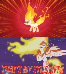 Size: 1051x1181 | Tagged: safe, artist:alphamonouryuuken, edit, edited screencap, screencap, daybreaker, twilight sparkle, fire pony, pony, a royal problem, feeling pinkie keen, clapping, fiery teacher and apprentice, funny, happy, mane of fire, meme, rapidash twilight, student, teacher, teacher and student, that's my pony, that's my x, video game reference