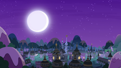 Size: 1920x1080 | Tagged: safe, screencap, pony, a royal problem, background, canterlot, clear with periodic sky, moon, night, no pony, scenery