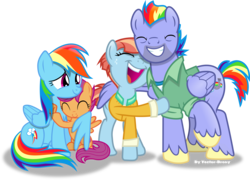 Size: 5048x3644 | Tagged: safe, artist:vector-brony, bow hothoof, rainbow dash, scootaloo, windy whistles, pegasus, pony, absurd resolution, eyes closed, hug, rainbow dash's parents, scootalove, simple background, smiling, transparent background, vector, windyhoof, winghug