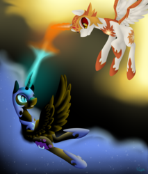 Size: 1700x2000 | Tagged: safe, artist:keisaa, daybreaker, nightmare moon, alicorn, pony, a royal problem, blast, duo, fight, flying, frown, gritted teeth, magic, magic blast