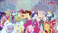 Size: 1920x1080 | Tagged: safe, screencap, applejack, fluttershy, lemon zest, pinkie pie, rainbow dash, rarity, sci-twi, sour sweet, sugarcoat, sunny flare, sunset shimmer, twilight sparkle, dance magic, equestria girls, spoiler:eqg specials, armpits, clothes, cute, eyes closed, female, glasses, hat, headphones, open mouth, ponied up, rapper dash, scitwilicorn, shoes, skirt, smiling, teletoon, tutu