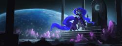 Size: 2400x900 | Tagged: dead source, safe, artist:shamanguli, nightmare moon, alicorn, pony, armor, crystal, earth, female, head turn, helmet, mare, moon, raised hoof, solo, space, throne