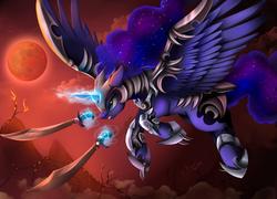 Size: 3262x2346 | Tagged: safe, artist:pridark, princess luna, alicorn, pony, armor, blood moon, commission, female, flying, mare, moon, protector, scimitar, solo, sword, warrior luna, weapon