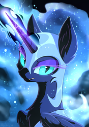 Size: 701x1001 | Tagged: safe, artist:hioshiru, nightmare moon, alicorn, pony, armor, electricity, female, lightning, looking at you, mare, slit eyes, solo
