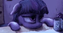 Size: 2000x1073 | Tagged: safe, artist:plotcore, twilight sparkle, alicorn, pony, bust, female, floppy ears, frown, mare, mug, portrait, sad, solo