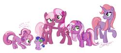 Size: 3889x1708 | Tagged: safe, artist:bakufoon, idw, cheerilee, cheerilee (g3), cherry blossom (g3), cherry blossom (idw), pony, baby, baby pony, g3, g3 to g4, g3.5, g3.5 to g4, generation leap, generational ponidox, multeity