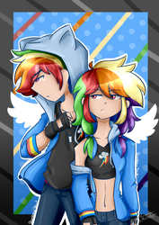 Size: 1413x1995   Tagged: safe, artist:aniluap-mcmelody, rainbow dash, human, belly button, clothes, duo, female, fingerless gloves, gloves, hoodie, humanized, male, midriff, pants, r63 paradox, rainbow blitz, rule 63, self paradox, sports bra