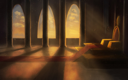 Size: 3276x2048 | Tagged: safe, artist:princesssaros, background, banner, crepuscular rays, dust motes, no pony, scenery, shadow, throne, throne room, wallpaper