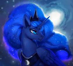 Size: 1200x1082 | Tagged: safe, artist:rodrigues404, princess luna, alicorn, pony, bust, female, mare, moon, portrait, solo