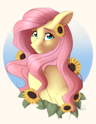 Size: 2056x2645 | Tagged: safe, artist:fairdahlia, fluttershy, pegasus, pony, bust, cute, female, flower, flower in hair, folded wings, high res, looking at you, mare, portrait, shyabetes, smiling, solo