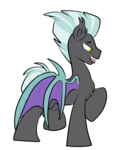 Size: 1950x2300 | Tagged: safe, artist:heyerika, thunderlane, bat pony, pony, bat ponified, flat colors, male, race swap, simple background, solo, species swap, stallion, transparent background
