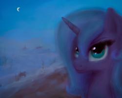 Size: 2014x1612 | Tagged: safe, artist:plotcore, princess luna, alicorn, pony, beautiful, blue, bust, female, mare, moon, night, portrait, s1 luna, solo