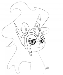Size: 1280x1515 | Tagged: safe, artist:pabbley, daybreaker, alicorn, pony, a royal problem, 30 minute art challenge, bust, female, grayscale, mare, monochrome, portrait, simple background, solo, white background