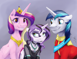 Size: 6600x5100 | Tagged: safe, artist:silfoe, princess cadance, princess flurry heart, shining armor, alicorn, pony, unicorn, absurd resolution, black lipstick, choker, clothes, commission, dyed mane, ear piercing, eyebrow piercing, family photo, female, fishnets, floppy ears, forced smile, goth, grin, it's a phase, jewelry, lipstick, male, mare, necklace, older, piercing, princess emo heart, shiningcadance, shipping, smiling, stallion, straight, teenage flurry heart, teenager