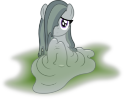 Size: 2574x2070 | Tagged: safe, artist:badumsquish, derpibooru exclusive, marble pie, goo, goo pony, original species, abstract background, female, goo ponified, looking at you, melting, puddle, shy, simple background, solo, species swap, translucent, white background