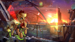 Size: 1920x1080 | Tagged: safe, artist:discordthege, applejack, earth pony, pony, city, clothes, cowboy hat, female, freckles, futuristic, hat, mare, scenery, scenery porn, snow, solo, stellaris, stetson