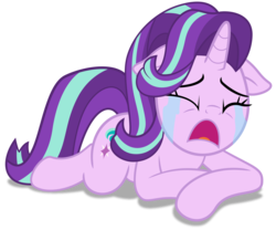Size: 2000x1664 | Tagged: safe, artist:spellboundcanvas, starlight glimmer, pony, unicorn, a royal problem, crying, eyes closed, female, floppy ears, open mouth, prone, sad, sadlight glimmer, simple background, solo, transparent background, vector, woobie
