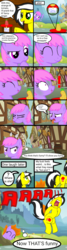 Size: 750x2800 | Tagged: safe, artist:toyminator900, oc, oc only, oc:melody notes, oc:uppercute, earth pony, pegasus, pony, :o, :t, angry, bad handwriting, barrel, burning, bush, comic, cottage, crate, disgusted, duo, eating, exclamation point, eyes closed, female, fire, fire hair, flower, food, freckles, frown, grammar error, hay, hay bale, heart, horseshoes, house, looking at you, mare, mountain, open mouth, pain in the butt, paper, pineapple, plot, pointing, ponyville, prank, raised hoof, revenge, screaming, sign, smiling, snorting, speech bubble, spit take, spitting, suspicious, tape, thought bubble, tomato, tongue out, tree, underhoof, wall of tags, windmill