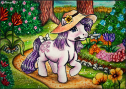 Size: 1043x736 | Tagged: safe, artist:lolliangel123, blossom, pony, bow, flower, g1, garden, gardening, hat, mouth hold, solo, sun hat, tail bow, traditional art, tree, trowel