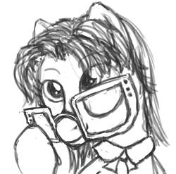Size: 3005x2964 | Tagged: safe, artist:plotcore, grace manewitz, earth pony, pony, bust, female, glasses, mare, monochrome, portrait, simple background, solo, white background
