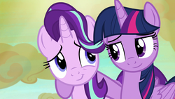 Size: 1280x720   Tagged: safe, screencap, starlight glimmer, twilight sparkle, alicorn, pony, unicorn, to where and back again, arm on shoulder, duo, duo female, female, lidded eyes, looking at each other, mare, smiling, smiling at each other, twilight sparkle (alicorn)