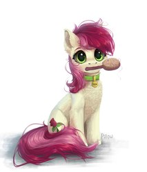 Size: 1708x2001 | Tagged: safe, artist:graypillow, roseluck, earth pony, pony, behaving like a dog, brush, chest fluff, collar, commissioner:doom9454, cute, cuteluck, ear fluff, female, flower, fluffy, hairbrush, looking at you, mare, mouth hold, pet tag, pony pet, rose, rosepet, simple background, solo, weapons-grade cute, white background