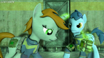 Size: 3840x2160   Tagged: safe, artist:goatcanon, blues, noteworthy, oc, oc:littlepip, earth pony, pony, unicorn, fallout equestria, 3d, colt, crossover, fallout, fanfic, fanfic art, female, future, glowing horn, horn, levitation, magic, male, mare, pipboy, pipbuck, sad, source filmmaker, stable, stallion, telekinesis, vault, vault suit