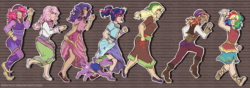 Size: 3000x1057 | Tagged: safe, artist:kikirdcz, applejack, fluttershy, pinkie pie, rainbow dash, rarity, sci-twi, spike, spike the regular dog, sunset shimmer, twilight sparkle, dog, human, movie magic, spoiler:eqg specials, alternate hairstyle, beautiful, boots, clothes, dark skin, dress, female, glasses, high heel boots, humane five, humane seven, humane six, humanized, light skin, male, moderate dark skin, running, shoes, skirt, sunshim