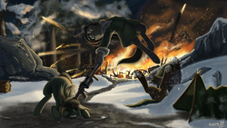 Size: 1920x1080   Tagged: safe, artist:rublegun, oc, oc only, zebra, fallout equestria, fallout equestria: the fossil, acrobatics, beanie, fanfic art, fight, fire, gun, hat, machine gun, snow, weapon