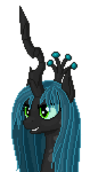 Size: 632x1200 | Tagged: artist:koshakevich, bust, pixel art, portrait, queen chrysalis, safe, simple background, solo, transparent background