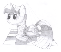 Size: 1340x1141 | Tagged: artist:aafh, monochrome, picnic blanket, pony, safe, solo, traditional art, twilight sparkle, unicorn