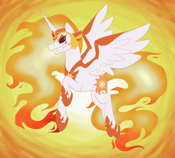 Size: 5100x4606 | Tagged: absurd res, alicorn, armor, a royal problem, artist:catlover1672, daybreaker, female, fire, flying, grin, mane of fire, mare, pony, safe, smiling, solo