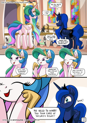 Size: 955x1351   Tagged: safe, artist:mysticalpha, discord, princess celestia, princess luna, queen chrysalis, alicorn, pony, comic:day in the lives of the royal sisters, comic, crown, cute, cutelestia, dialogue, duo focus, eye twitch, female, horseshoes, jewelry, luna is not amused, lunabetes, mare, peytral, regalia, sillestia, silly, speech bubble, this will end in death, this will not end well, too dumb to live, trollestia, xk-class end-of-the-world scenario