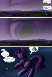 Size: 1920x2816 | Tagged: safe, artist:shieltar, part of a set, twilight sparkle, pony, unicorn, comic:giant twilight, comic, cute, dialogue, eye, female, giant eye in the sky, giant pony, giantess, macro, magic, part of a series, pictogram, planet, plot, pony bigger than a planet, size difference, smiling, solo, space, stars, unicorn twilight