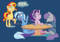 Size: 1000x712 | Tagged: artist:gintoki23, blue background, design, drink, maud pie, pony, relaxing, safe, shirt design, simple background, starlight glimmer, sunset shimmer, table, trixie, unicorn, watermark, welovefine