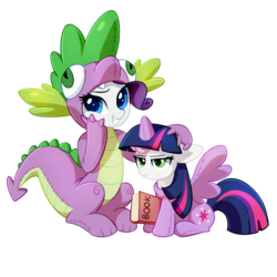 Size: 1200x1200 | Tagged: safe, artist:tomatocoup, rarity, spike, sweetie belle, twilight sparkle, alicorn, dragon, pony, unicorn, forever filly, annoyed, book, clothes, colored pupils, costume, cute, dragon costume, duo, female, filly, kigurumi, lidded eyes, mare, simple background, sitting, smiling, spike suit, sweetie belle is not amused, transparent background, twilight sparkle (alicorn), unamused, wat