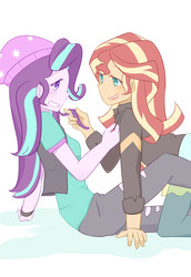 Size: 2370x3444 | Tagged: safe, artist:yuck, starlight glimmer, sunset shimmer, equestria girls, mirror magic, spoiler:eqg specials, female, lesbian, shimmerglimmer, shipping, simple background