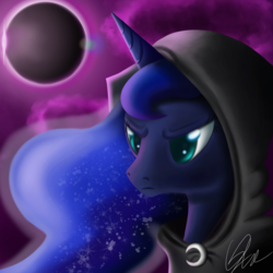 Size: 1500x1500 | Tagged: safe, artist:qbellas, princess luna, alicorn, pony, cloak, clothes, colored pupils, eclipse, female, frown, mare, moon, solo, sun